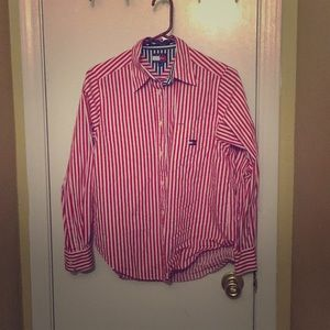 Red and White pin striped Tommy Hilfiger shirt